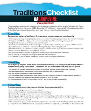 AA Grapevine Traditions Checklist